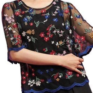 Anthropologie Maeve sheer black top embroidered XS